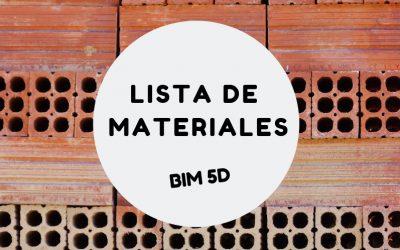 Listado de materiales y costos del proyecto BIM 5D